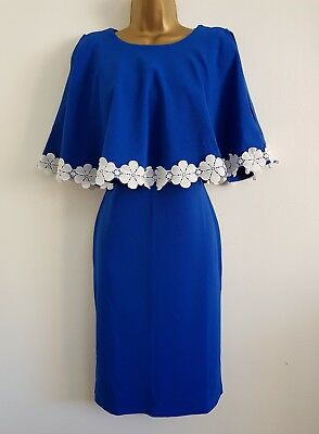 NEW Size 16-22 Blue White Floral Batwing Cold shoulder Cape Layered Shift Dress