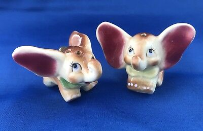 Rare Walt Disney Vintage Dumbo Little Elephant Salt Pepper Shakers