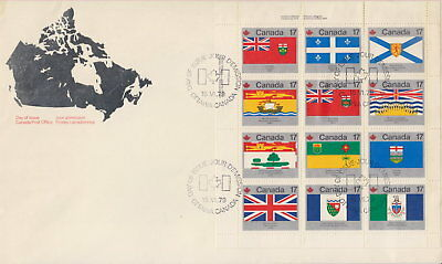 CANADA #832a 17¢ PROVINCIAL AND TERRITORIAL FLAGS UL FULL PANE FIRST DAY COVER