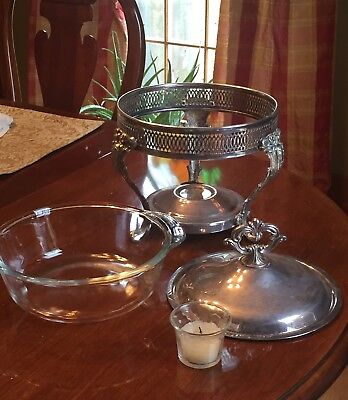 """Silver Plated Large Serving Covered Casserole Bowl Stand Dish 11"""" H"""