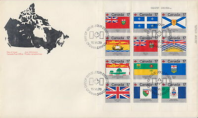 CANADA #832a 17¢ PROVINCIAL AND TERRITORIAL FLAGS UR FULL PANE FIRST DAY COVER