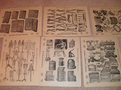 Antique Lot 12 Pages (2 Sides) Medical Instruments, Devices Book Plates- Knauth
