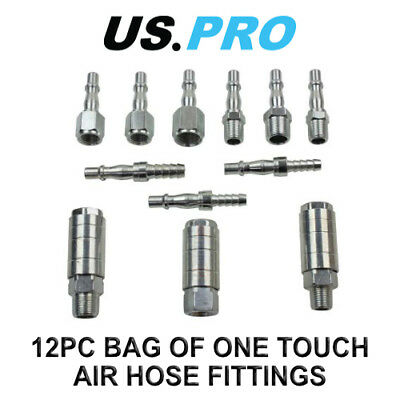 US PRO 12pc One Touch Quick Release Air Hose Fittings Couplings 8787