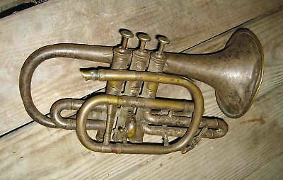 FANCY c1880s G L PENZEL & BRO New York BRASS Trumpet Cornet Musical Instrument