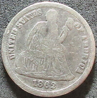 1862 Seated Liberty Dime Coin