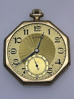 """Illinois """"Time King"""" Octagon Pocket Watch - For Parts or Repair"""