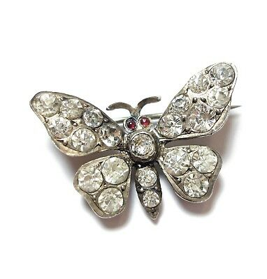 Beautiful Old Victorian Or Edwardian Silver & Paste Stone Butterfly Brooch (A12)