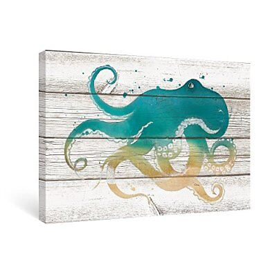Wall Art Octopus Canvas Vintage Wood Framed Pictures Living Room Kids Bathroom