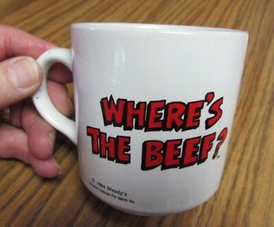 Vintage 80s WENDY'S Fast Food  WHERES THE BEEF Heavy White Coffee / Tea Mug  Cup