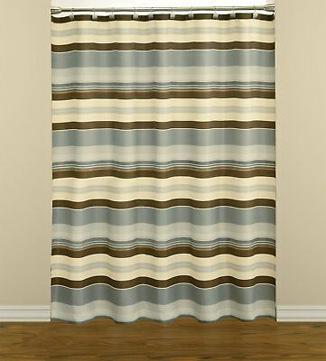 NEW   Saturday Knight Madison Blue Striped Fabric Shower Curtain