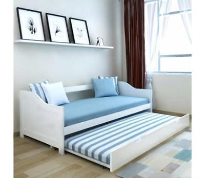 Pull Out Sofa Bed 2 In 1 White Solid Wooden Double Deck 3 Seater