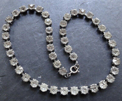 vintage STERLING clasp clear rhinestone silver tone chain necklace -C36