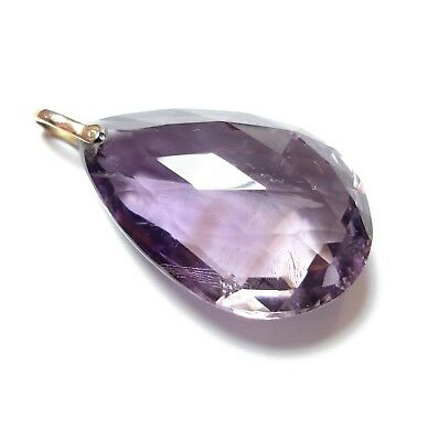 Beautiful Large Antique Victorian Or Edwardian Amethyst & 9Ct Gold Pendant (A14)