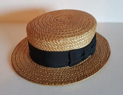 Vintage/antique Dunn & Co straw boater hat, nr perfect! Costume prop fancy dress