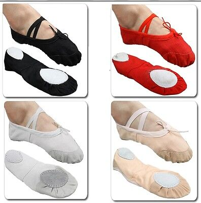 UK Stock Free P&P Canvas Ballet Dance Flat Shoes for Childs Adults Girls Sale
