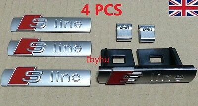 Set of Audi S-Line Badges Emblems 1x Grille 3 x Sticker for A3 A4 A5 A6 A8 TT Q7