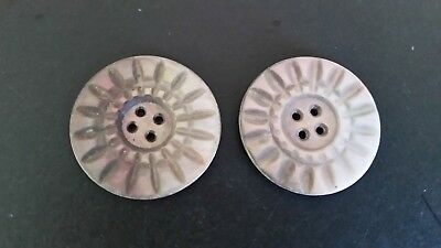 """Stunning Pair of 1 3/8"""" Carved MOP Antique/Vintage BUTTONS Bright Sunish Design"""