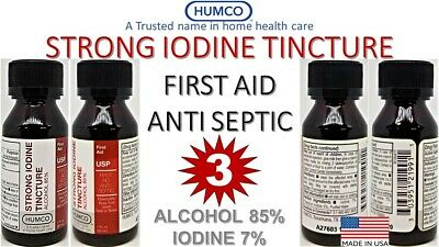 3X HUMCO 7% STRONG IODINE TINCTURE 1oz TRADITIONAL FAMILY FIRST AID ANTISEPTIC 3