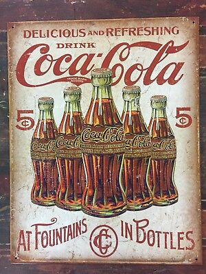 Coca Cola Tin Metal Sign Coke Vintage Retro Bottles Advertising Wall Soda Store