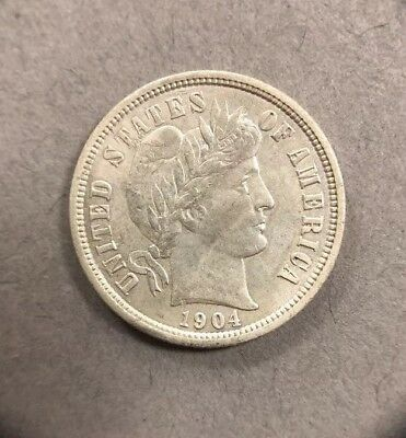 1904 10 Cent Barber Silver Dime Collectible Coin