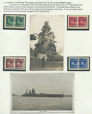 GB 1936 KEVIII Set in Pairs on Piece with 'Posted on Board HMS Rodney' Cachets