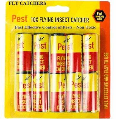 10 Sticky Fly Paper Insect Pest Fly Catchers Flies Wasp Patrol Insects Traps New