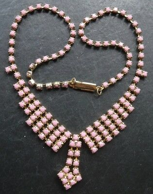 vintage baby pink rhinestone gold tone chain pendant necklace -D248
