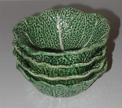 """4 Bordallo Pinheiro Cabbage Leaf Green Cereal Fruit Bowls 6"""" Wide 2 3/8"""" Tall"""