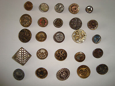 Antique LOT of 30 different brass, steel, MOP, picture etc buttons