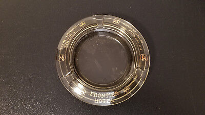 Frontier Hotel Hughes Resort Las Vegas Ashtray - Smoke Glass with Gold Graphics