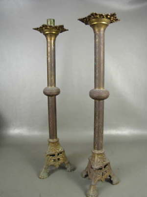 """2 Vintage Antique Candlesticks Candle Holders Floor Church Altar Pair 23 1/2"""" T"""