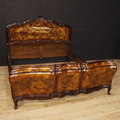 Venetian double bed walnut wood furniture bedroom antique style Louis XV 900