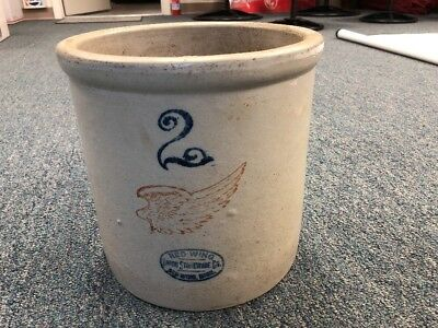 Antique Red Wing 2 Gallon Large Crock Union Stoneware Pottery NICE