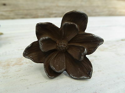Rustic Cast Iron Brown Metal FLOWER Floral Knob ~ Magnolia Drawer Pull