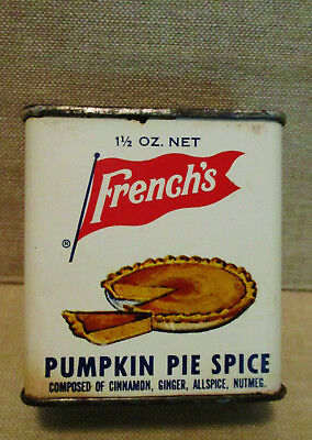 Vintage Food Advertising Tin-FRENCH'S PUMPKIN PIE SPICE Can-Cook Bake Recipe