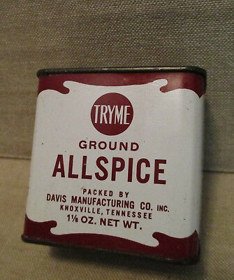 Vintage Food Advertising Tin-TRY ME ALLSPICE Can-KNOXVILLE TN-Tryme-Davis Co.