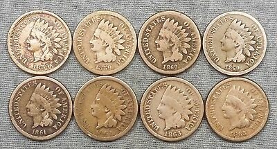 Lot Of 8 CN Indian Head Cents - (2) 1859, (2) 1860, 1861, 1862 & (2) 1863