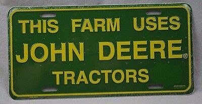 John Deere Tractors metal sign light weight license plate green yellow new