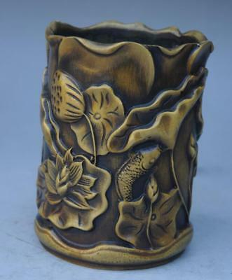 Old Chinese brass Ancient Lotus Leaf Flower Brush Pot Pencil Holder e01