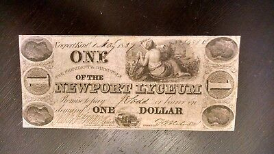 1837 $1 Newport Lyceum , Ohio Obsolete Note Fully Signed And Issued Note #1837