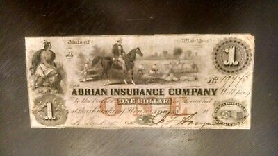 1800's $1  ADRIAN INSURANCE COMPANY OBSOLETE OF MICHIGAN VF
