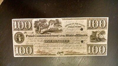 VERY SCARCE 1800's $100 STATE OF ILLINOIS OBSOLETE SIGNED AND ISSUED VF/XF