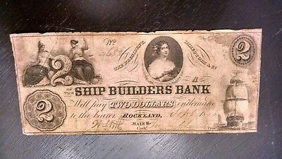 TOUGHER 1800's $2 NEW ENGLAND OBSOLETE (THE SHIP BUILDER OF MAINE SIGNED/ISSUED