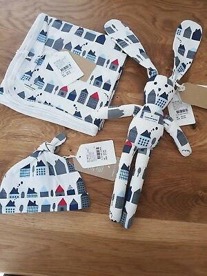 country road baby boys bunny blanket beanie new with tags rrp $86