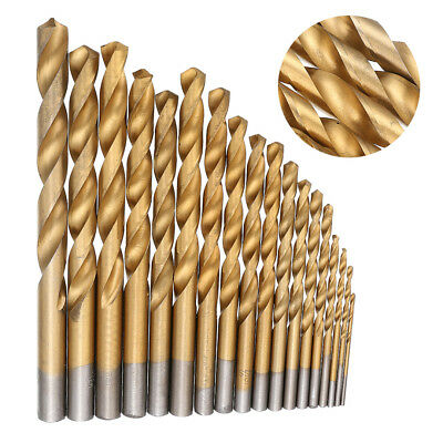 19pc HSS Metric Drill Bit Set Titanium Coated Twist Drills Metal Wood 1-10mm Ark