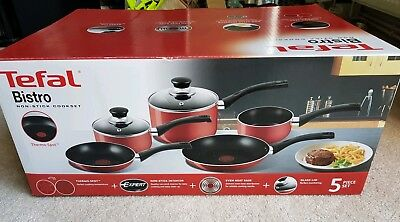 Tefal Bistro Non-Stick Cookset Pot and  Saucepan Set 5 Pieces Red color