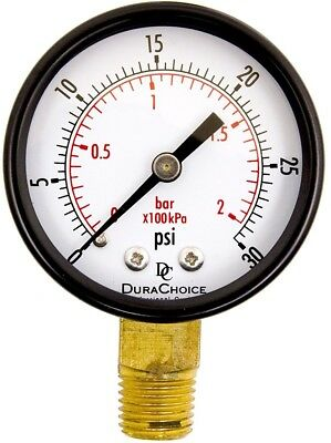 2' Pool Spa Filter Utility Pressure Gauge for Water, Oil, Gas, 1/4' NPT Lower