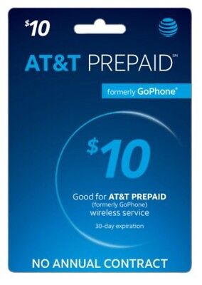 AT&T Go phone $10 Refill PIN - Physical Refill card Top Up 30 Day US Seller ATT