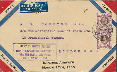 1936 Hong Kong First Flight Cover FFC to England via Malaya Imperial Airways