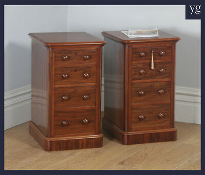 Antique Pair Victorian Mahogany Bedside Chests Pot Cupboards Nightstands c.1860